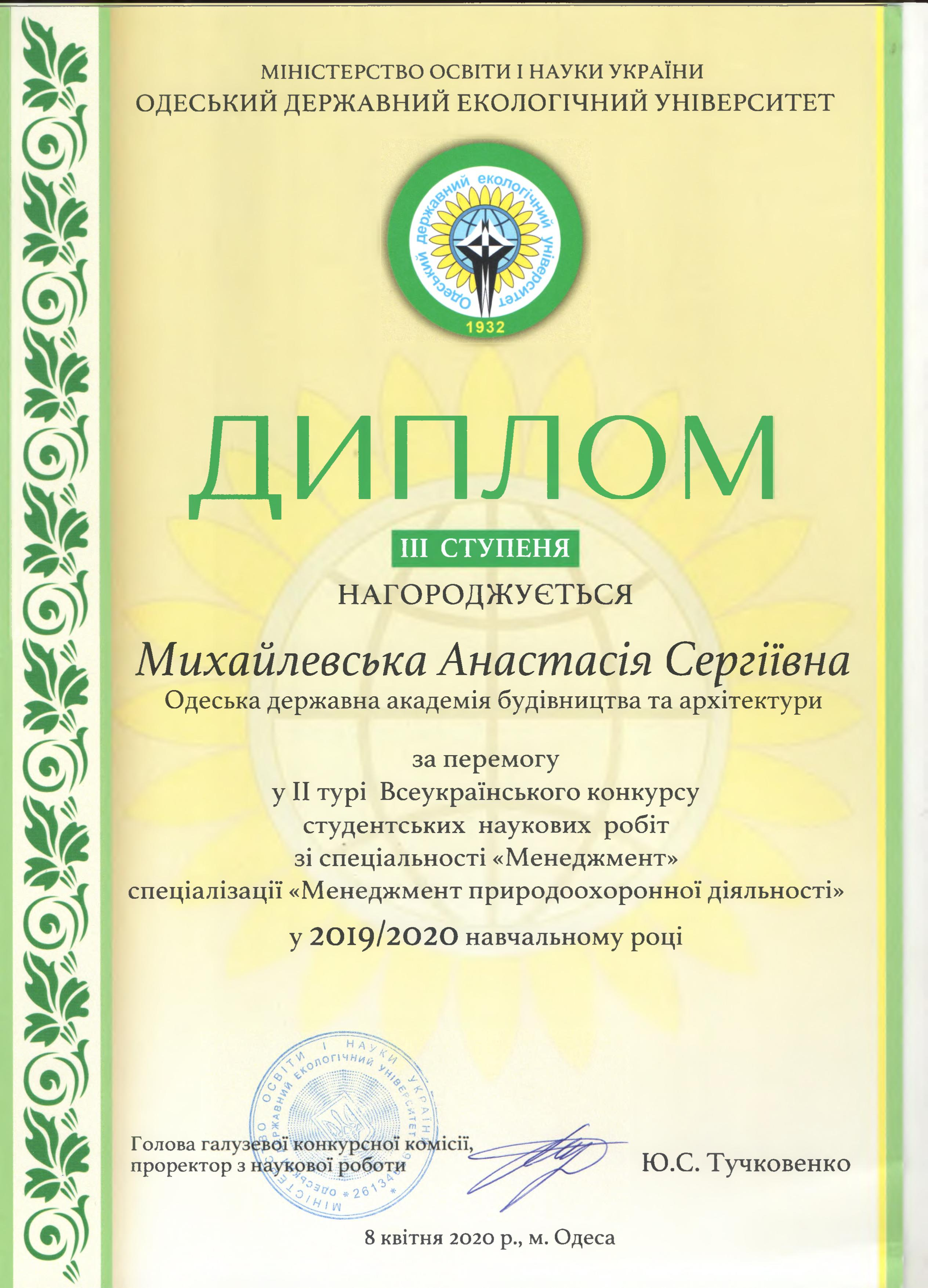 грамота конкурс студентських наукових робіт зі спеціальності Менеджмент Михайлевська